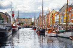 The historical ships in Nyhavn, Copenhagen. Royalty Free Stock Images