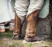 Historical shoes. Shod on the feet Royalty Free Stock Photography