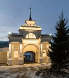 Historical shopping arcades Gostiny Dvor at night. Historical Gostiny Dvor in Suzdal at night. An ancient arch in the shopping arcades with night illumination Royalty Free Stock Photography