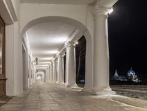 Historical shopping arcades Gostiny Dvor at night. View of the Suzdal Kremlin with night illumination. Suzdal, Vladimir Region, Russia. Gold ring Royalty Free Stock Images