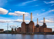 Abandonded Battersea Power Station in South West London England. Historical shot of decommissioned coal-fired Battersea power station, located on the south bank Royalty Free Stock Image