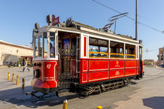 Historical sightseeing tram at Taksim Square on the streets of Istanbul. Turkey. Royalty Free Stock Photography