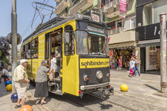 Historical sightseeing tram at Taksim Square on the streets of Istanbul. Turkey. Royalty Free Stock Photo