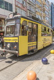 Historical sightseeing tram at Taksim Square on the streets of Istanbul. Turkey. Stock Photography