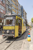 Historical sightseeing tram at Taksim Square on the streets of Istanbul. Turkey. Royalty Free Stock Image