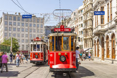 Historical sightseeing tram at Taksim Square on the streets of Istanbul. Turkey. Clear sunny day Stock Image