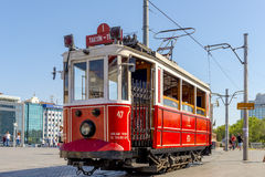 Historical sightseeing tram at Taksim Square on the streets of Istanbul. Turkey. Royalty Free Stock Photos