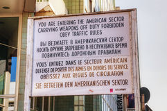 Historical sign at Checkpoint Charlie in Berlin Royalty Free Stock Photos