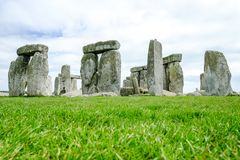 Historical site Stonehenge with cloudy sky. Historical site and world heritage Stonehenge with cloudy sky, United Kingdom stock images