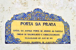 The historical site where the doorway to the castle used to be for the Porta da Stock Image