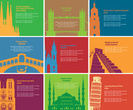 Historical sites. Set of banners with different historical sites Royalty Free Stock Photo