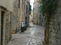 Historical Small Street with Mopeds. Romantic Historical Street with Mopeds stock image