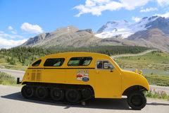 Historical snowmobile in Jasper National Park in the Columbia Icefields, Canada Royalty Free Stock Images