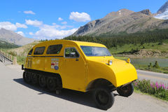 Historical snowmobile in Jasper National Park in the Columbia Icefields, Canada Stock Photo