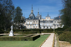 The historical spas - La Granja de San Ildefonso. La Granja de San Ildefonso with garden, Segovia Province, Castile and Leon, Spain stock photography