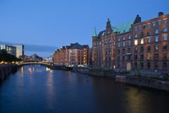 Historical speicherstadt in hamburg. At night, germany Stock Image