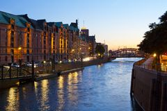 Historical speicherstadt in hamburg. At night Royalty Free Stock Photos