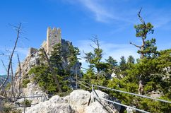 Historical St. Hilarion Castle in Kyrenia region, Northern Cyprus taken with blue sky above. Located on the rocks of Kyrenia mountain range, originally a royalty free stock photos