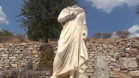 The historical statu on the road of  Ephesus. stock video footage