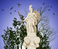 Historical statue of Athena with birds. Historical statue of Athena on the blu sky background Stock Photos