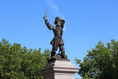 Historical statue of Jean Bart in Dunkirk, France. The historical statue of the famous corsair Jean Bart in Dunkirk, France Stock Photo