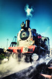 Historical steam engine train in motion Royalty Free Stock Photo