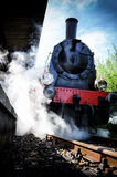 Historical steam engine train in motion Royalty Free Stock Photos