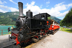 Historical steam locomotive on Achensee lake railroad in tirol Royalty Free Stock Photography