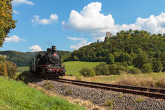 Historical Steam Locomotive at the Medieval Castle Ruin Neideck, Royalty Free Stock Images