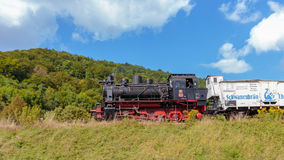 Historical Steam Locomotive at the Medieval Castle Ruin Neideck, Royalty Free Stock Photos