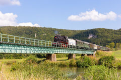 Historical Steam Locomotive at the Medieval Castle Ruin Neideck, Royalty Free Stock Photo