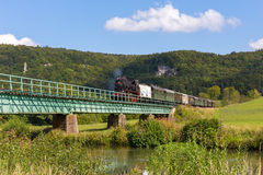 Historical Steam Locomotive at the Medieval Castle Ruin Neideck, Stock Photo