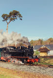 Historical steam train on island Rugen in Germany, text space Royalty Free Stock Photography