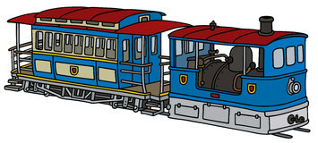 Historical steam tramway. Hand drawing of a historical blue steam tramway Stock Photography