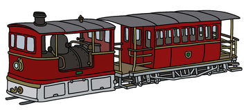 Historical steam tramway. Hand drawing of a vintage dark red steam tramway Stock Image