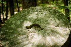 Historical Stone Monument in Forest. A historical monument in a forest, taken in Royalston, Massachusetts stock photo