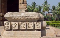 Historical stone walls of carved temple of Pattadakal, Karnataka. UNESCO World Heritage site Stock Photo