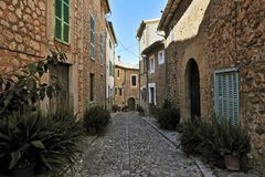 Historical Street in Biniaraix Stock Image