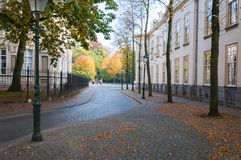 Historical street in the Netherlands. An old Dutch street in autumnal colors Stock Photography