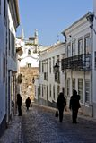 Historical street with tourists Royalty Free Stock Photography