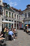 Historical street with tourists in Lille, France Royalty Free Stock Photo