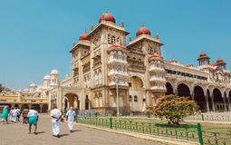 Historical structures and courtyards of the royal Palace of Mysore, built in 1912 in Karnataka Stock Photography