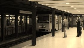 Historical subway arriving Royalty Free Stock Images
