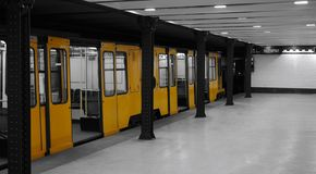 Historical subway. Traditional yellow train in historical subway Line 1 in Budapest, Hungary Stock Photography