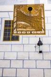 Historical sun clock-Cesky Krumlov,Czech republic Stock Photo