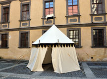 Historical tent. In the courtyard of the castle,the Czech Republic Royalty Free Stock Image