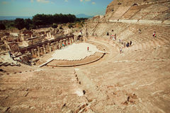 Historical theater from Greek-Roman time and natural landscape of Ephesus city Stock Photo