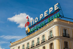 Historical Tio Pepe Sign in La Puerta del Sol square in Madrid Stock Images