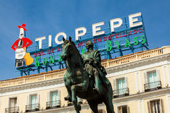 Historical Tio Pepe Sign in La Puerta del Sol square in Madrid Royalty Free Stock Photography