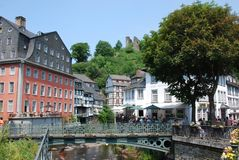 Historical tourist town Monschau with half-timbere Royalty Free Stock Photos